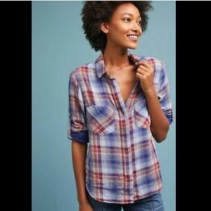 Anthropologie Cloth and Stone Plaid Button Down